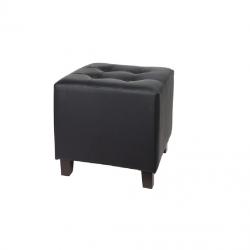 Pouf en cuir noir - chaises et tabourets en location