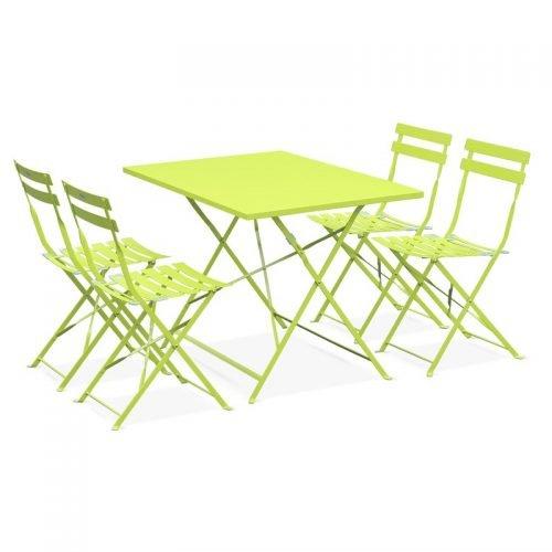 Location table bistrot rectangle vert pomme - mobilier de terrasse en location