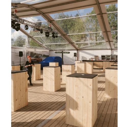 Tables Wood : mange debout en location