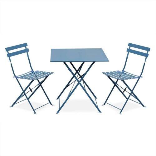 Table bistro bleue carrée 2 personnes