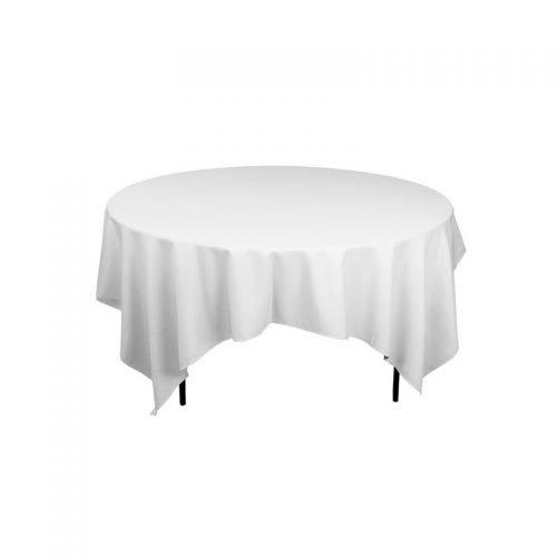 Nappe en location pour table ronde 10 personnes : nappe blanche 240 x 240 cm