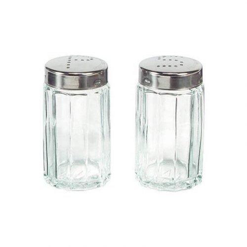 Salière et poivrier en location (matière verre et inox)