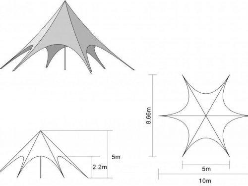 Location tente étoile 10m - schéma et dimensions tente Starshade